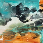 """Elizabeth Blau, """"Desert Water"""", 35"""" x 60"""" Acrylic on canvas, Summer 2012. Owned by the Sam and Adele Golden Foundation of the Arts, NY"""