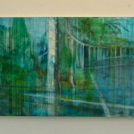 "Elizabeth Blau, ""Deerhunter"", 26"" x 80"" (Each panel), Acrylic on Polypropolene (paperless paper) mounted on wood panel, 2010 (Available)"