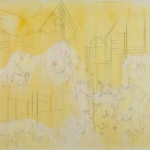 "Elizabeth Blau, ""Lemon peel"" 24"" x 36"", Mixed media on drafting film, 2008 (Available)"