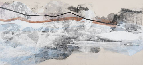 """Ecological narrative: """"Temperature Anomaly,"""" part of Elizabeth Blau's Changing Landscapes exhibit at Brett Wesley Gallery."""